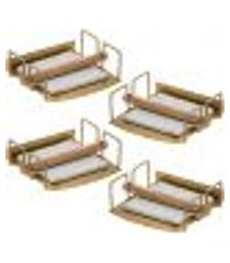 kit 4 suportes porta guardanapos de mesa quadrados dourado com contrapesos de madeira