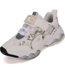 tenis moda dama sneakers tellenzi 239-  blanco*gris piton