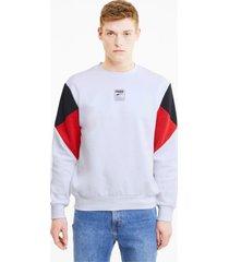 rebel small logo sweater met ronde hals voor heren, wit/aucun, maat xl | puma