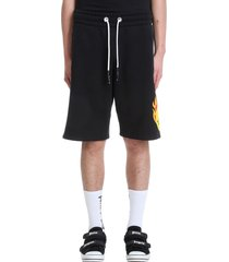 palm angels burning head shorts in black cotton