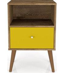 mesa de cabeceira lyam decor mb 2014 com 01 gaveta madeira rãºstica amarelo - amarelo - dafiti