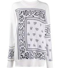 barrie bandana paisley cashmere jumper - white