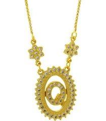 colar horus import letra q zircônia banhado ouro 18k feminino