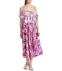 amur women's off-the-shoulder popover waist dress - magenta - size 2