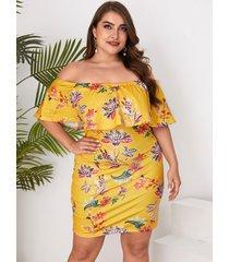 plus tamaño impresión floral aleatoria fuera del hombro doble capa vestido