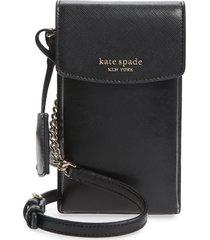 kate spade new york north/south leather smartphone crossbody bag - black