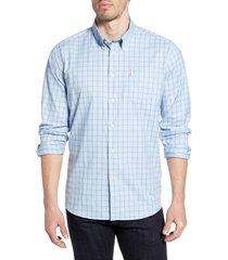 men's barbour batley check button-up performance shirt, size small - blue