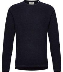 lamp o-neck knit stickad tröja m. rund krage blå gabba