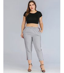 plus tamaño gris correa elástica parche raya pantalones