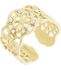 anello in ottone dorato e strass con simbolo fiocco di neve per donna