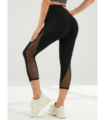 yoins leggings súper elásticos de malla negra con parche