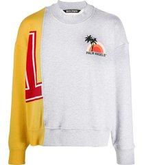 palm angels hybrid logo-print sweatshirt - grey