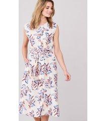 mouwloze linnen jurk met tropische print