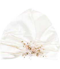 maryjane claverol sabrosa embellished turban hat - white