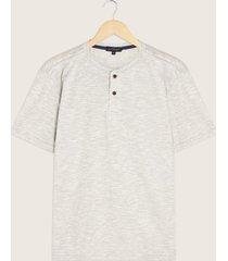 camiseta manga corta unicolor cuello henley-l