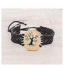 coconut shell pendant bracelet, 'bare tree' (guatemala)