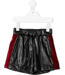 monnalisa velvet trim faux leather shorts - black