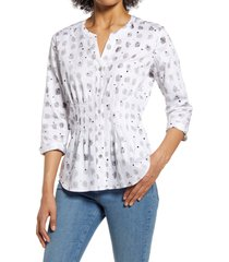 women's nic+zoe cafe button-up shirt, size small - white
