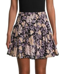 end of the island floral godet skirt
