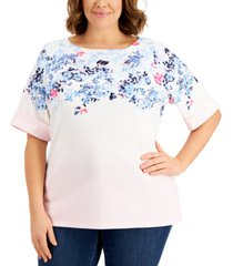 karen scott plus size elbow-sleeve floral-print top, created for macy's