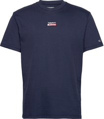 tjm small centered logo tee t-shirts short-sleeved blå tommy jeans