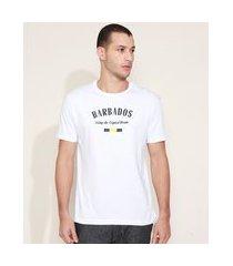 "camiseta masculina barbados"" manga curta gola careca branca"""