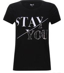 camiseta lentejuelas stay you color negro, talla m