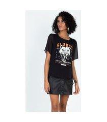 t-shirt manga curta mullet com mix de tecidos preto preto