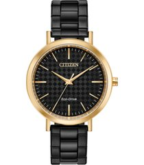 drive from citizen eco-drive women's black stainless steel bracelet watch 36mm