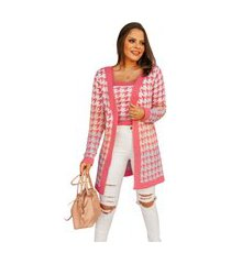 conjunto de trico pied poule multicolor rosa