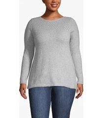 lane bryant women's pointelle knit boat neck sweater 18/20 heather gray