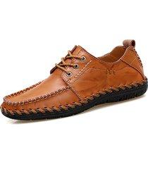 uomo scarpe casual in pelle elaborate a mano con lacci morbide e respirabili
