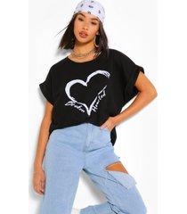 broken hearted sweater met vleermuismouwen, zwart