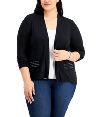 belldini plus size embellished high-low cardigan