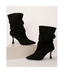 bota de suede feminina cano médio oneself bico fino salto médio taça slouch preta