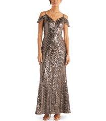 nightway sequin cold-shoulder gown