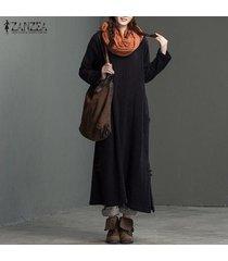 zanzea retro o las mujeres de cuello de manga larga bolsillos negro sólido sautumn partido largo del vestido de algodón de lino holgada plit hem vestido más el tamaño -negro