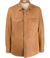 brunello cucinelli sheepskin shirt jacket - brown