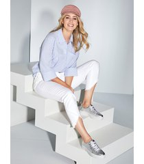 blouse miamoda lichtblauw::wit