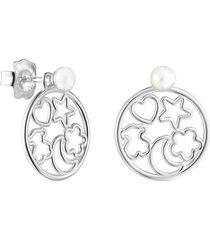 pendientes silueta de plata con perla plateado tous