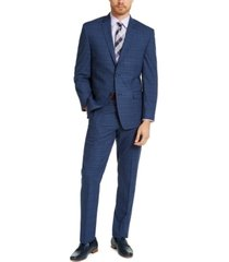 marc new york by andrew marc men's slim-fit blue plaid suit