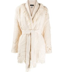 alanui belted knit cardigan - neutrals