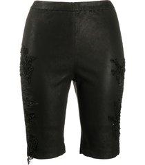 almaz beaded lace applique shorts - black
