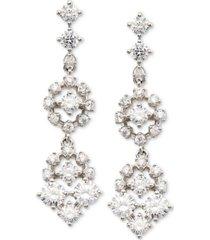 eliot danori silver-tone cubic zirconia cluster double drop earrings, created for macy's