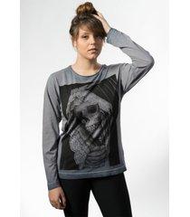 camiseta skull lab manga longa skull cinza - kanui
