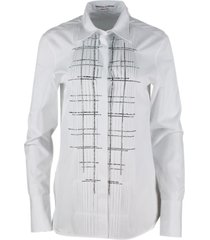 ermanno scervino long shirt with soft fit in stretch cotton with long sleeves with crystal applications on the front