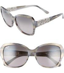 women's maui jim swaying palms 57mm polarizedplus2 butterfly sunglasses - blue grey pearl/ white gold