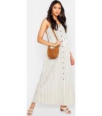tall gestreepte maxi jurk met knoopjes en zak, steenrood