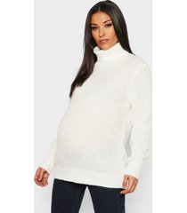 maternity soft knit roll neck sweater, ivory