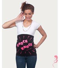 op en top zwanger zwangerschaps buikband knock knock zwart